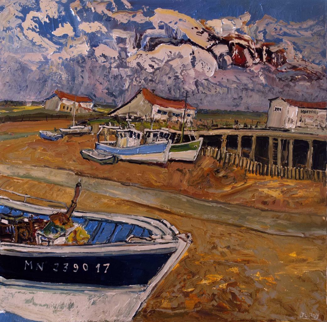 Marée basse à l'Eguille. 80X80. Jean-Claude ROY.