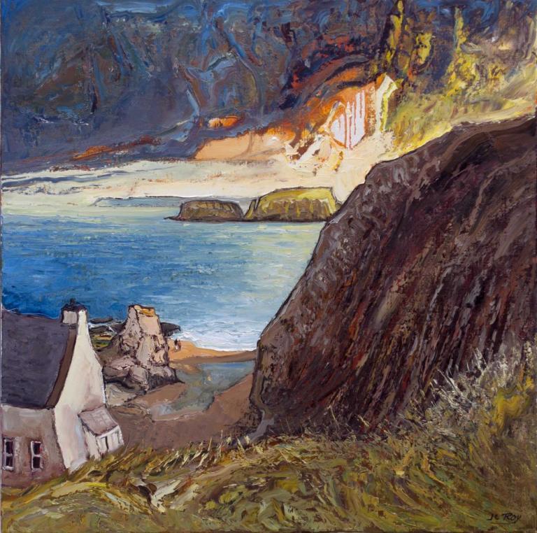 Sheep Island, Ballintoy. 80X80. Jean-Claude ROY.