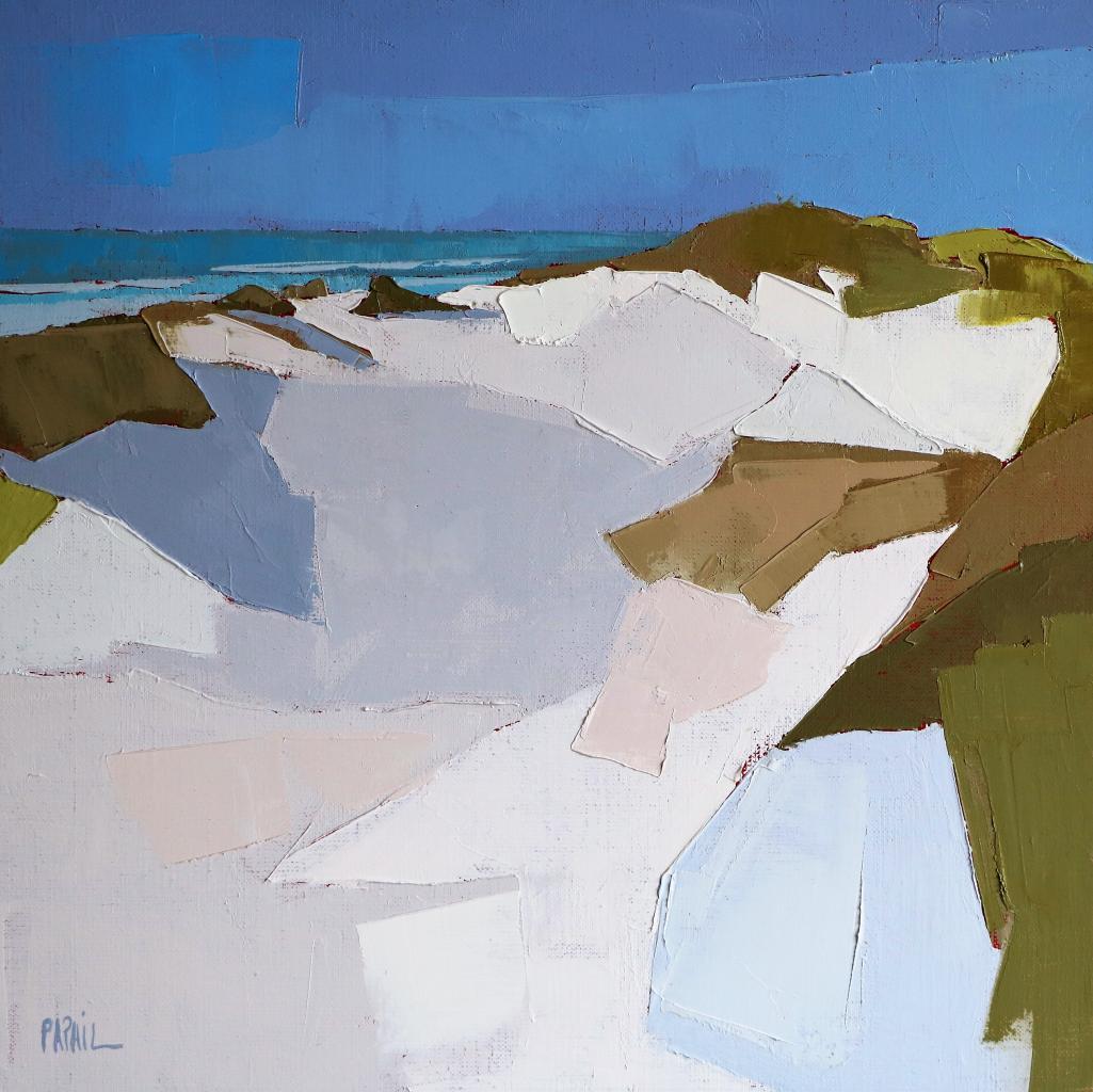 Au creux de la dune blanche. (40X40). Françoise PAPAIL