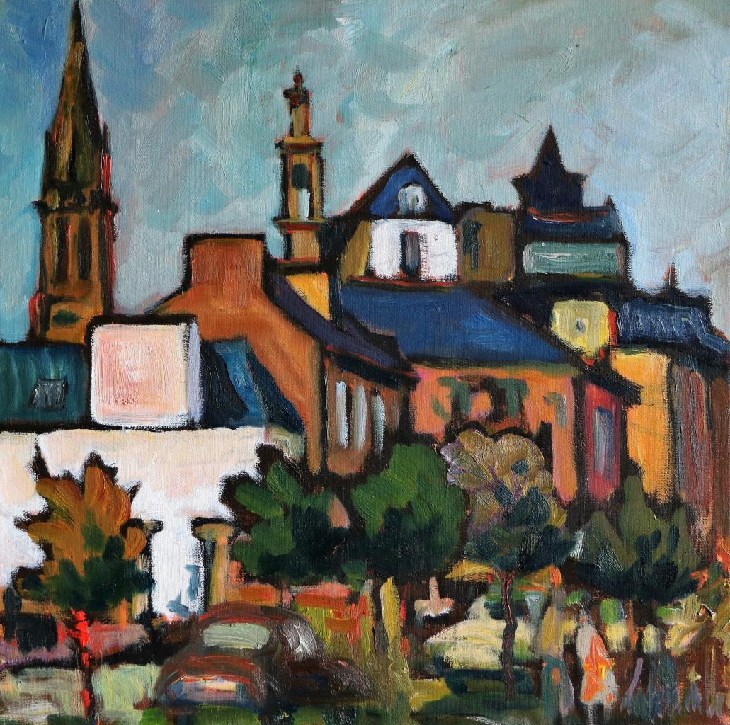 Au loin, chapelle Saint-Michel.30X30. Dominique LABESSOULHE