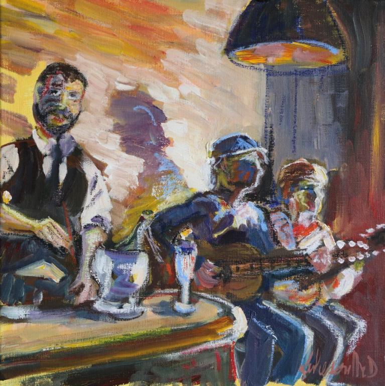 Café concert. 40X40 . Dominique LABESSOULHE