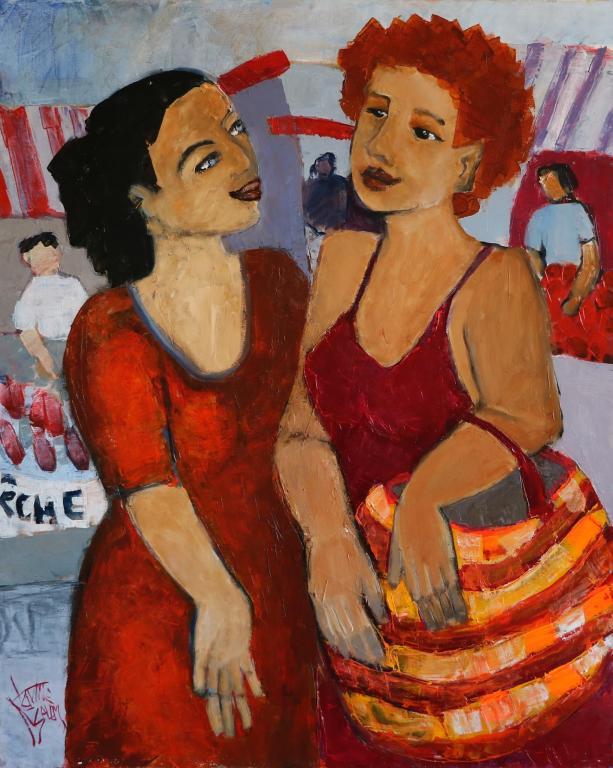 Conversation au marché. 81X65 -25F. Nadine SALEM