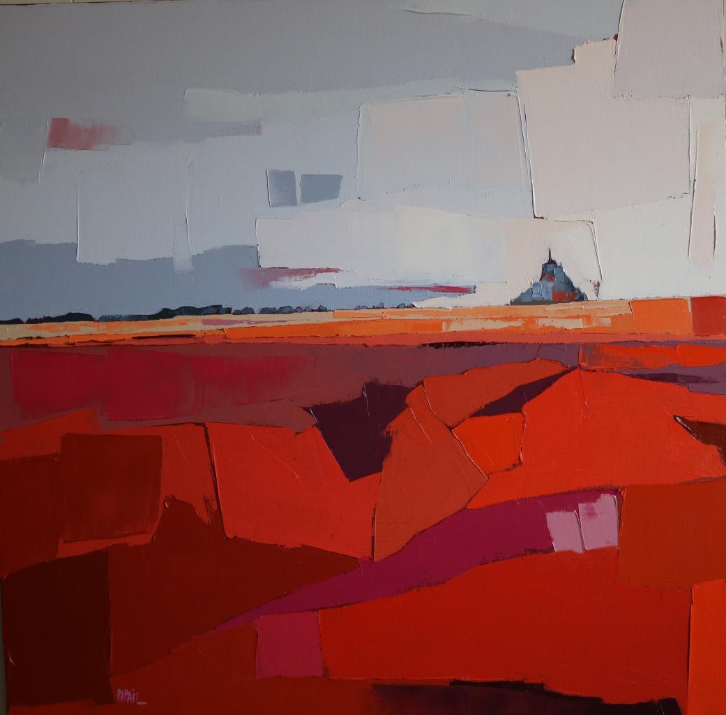 Le marais avant le Mont. (80X80) . Françoise PAPAIL