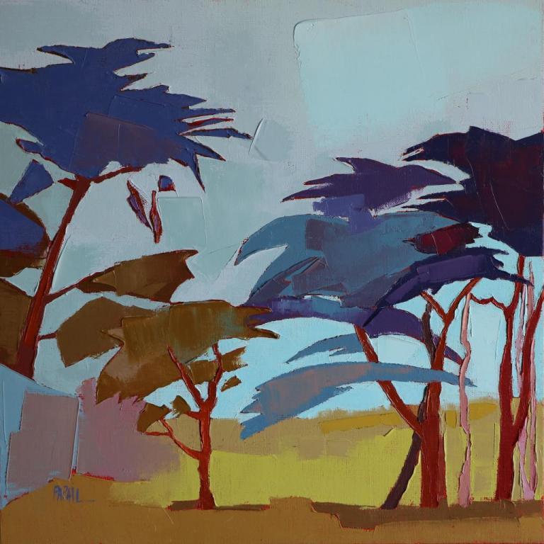 Le passage dans les pins. 40X40. Françoise PAPAIL