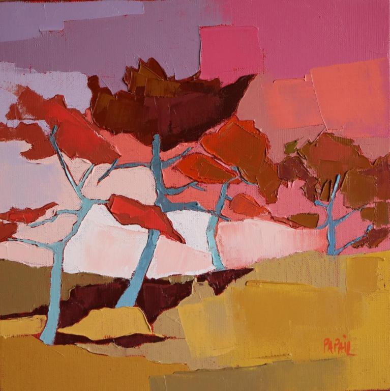 Les pins dans la montée. 30X30. Françoise PAPAIL
