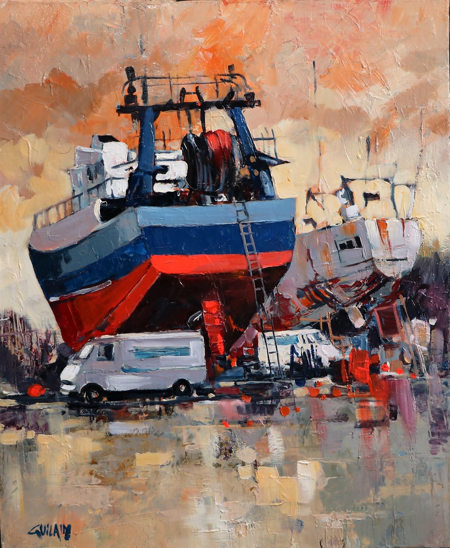 Les chalutiers à Lorient. 46X38 - 8F. Bernard GUILAIN.