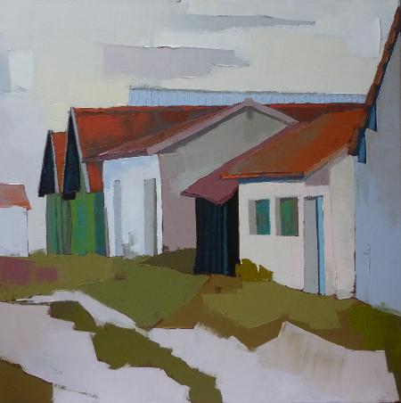 Les cabanes de pêcheurs. (60x60) . Françoise PAPAIL