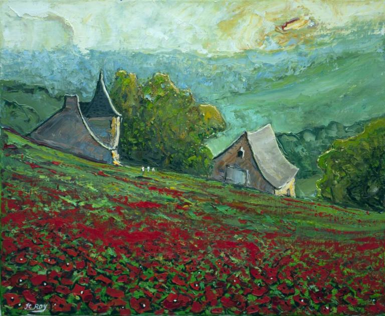Pastorale rouge et Verte. 65X54 - 15F. Jean-Claude ROY.