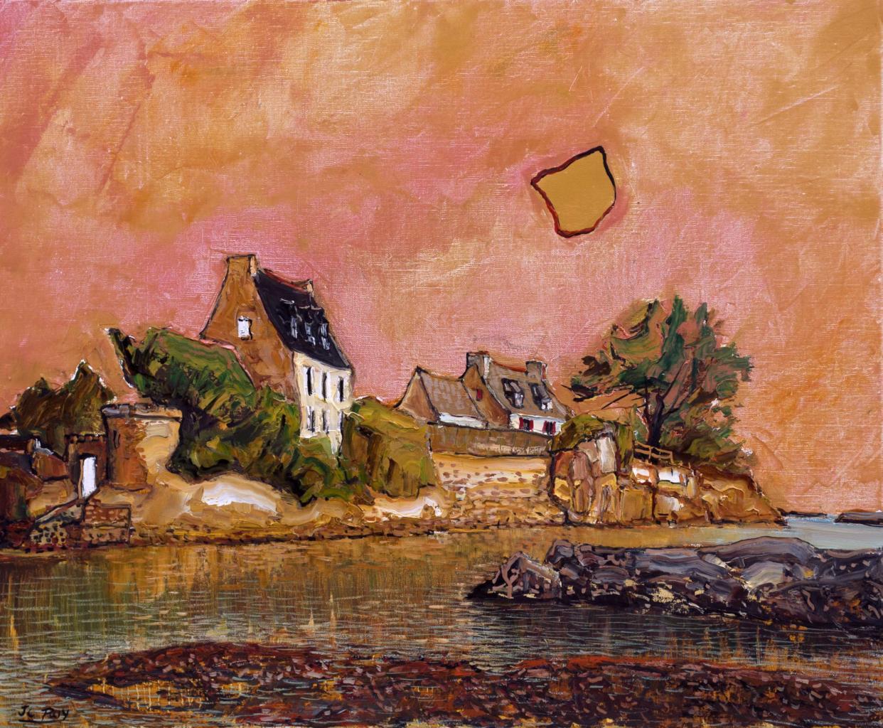 Lumière dorée, Bréhat. 73X60 - 20F) . Jean-Claude ROY.