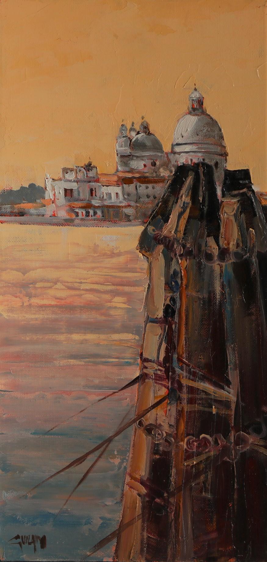 Ambiance matinale , Venise. 20X40. Bernard GUILAIN.