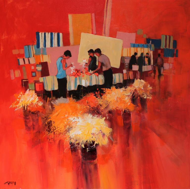Ambiance rouge -Avec des fleurs. 50X50. Bernard GUILAIN.