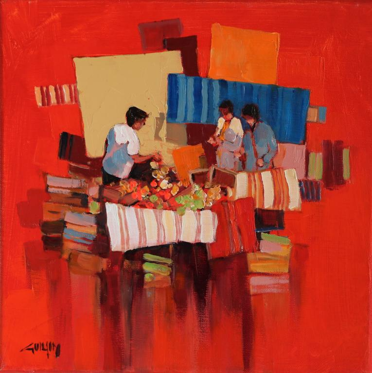 Ambiance rouge- Hésitation. 30X30. Bernard GUILAIN.