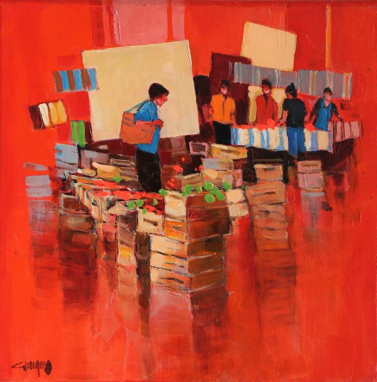Ambiance rouge -Les deux étals. 30X30. Bernard GUILAIN.