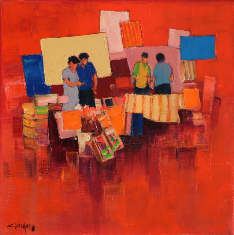 Ambiance rouge -Les échanges. 30X30. Bernard GUILAIN.