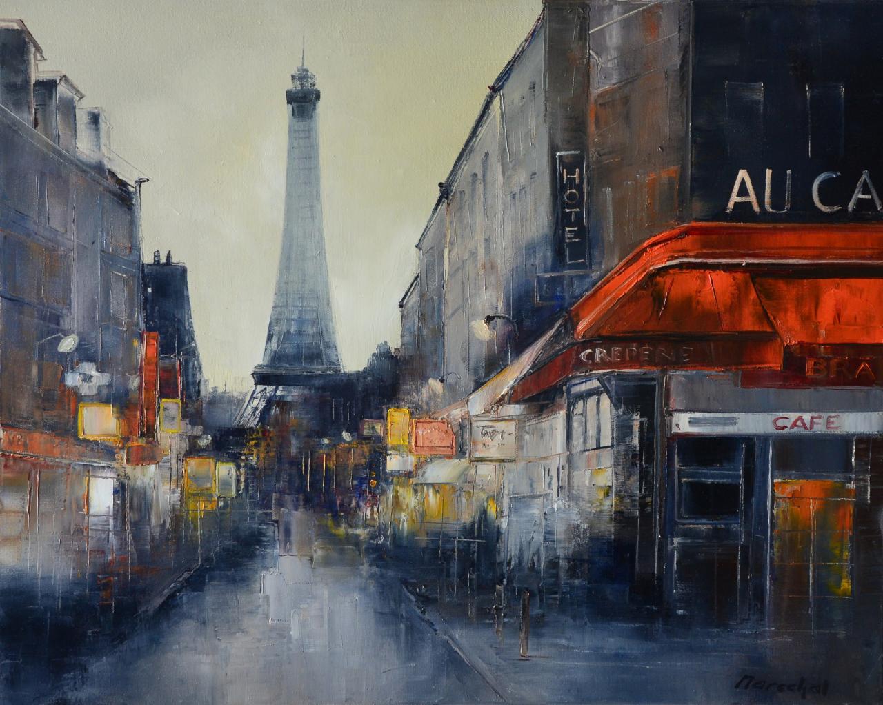 Au café de Paris. (81X65 ; 25F) . Francis MARECHAL
