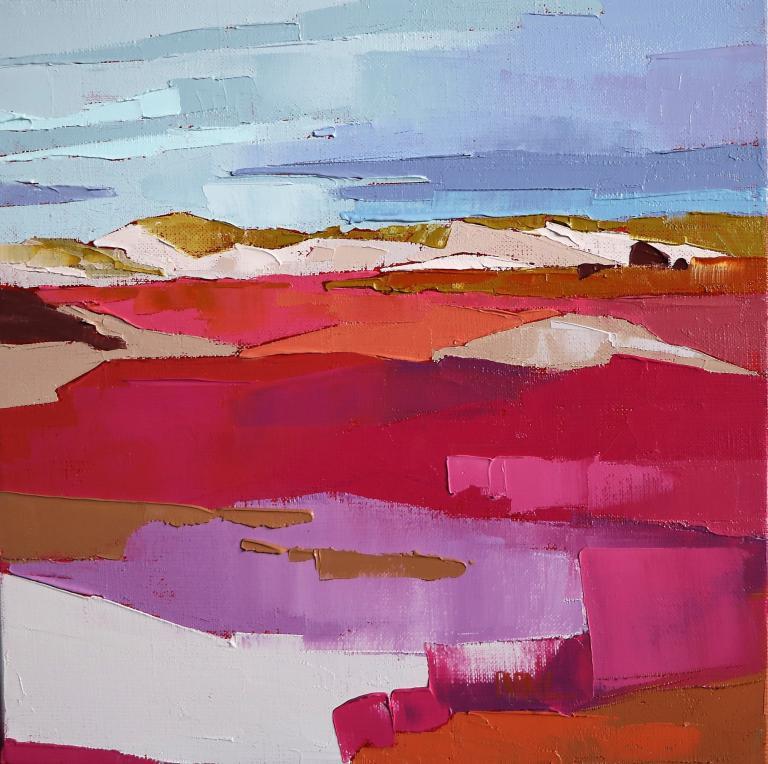 Au pied des dunes. 30X30. Françoise PAPAIL.