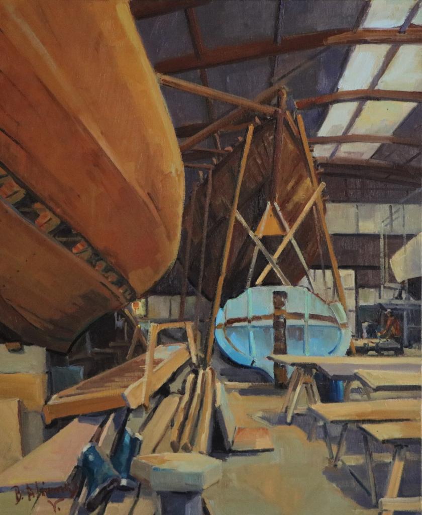 Le canot bleu au chantier. 65X54-15F. Béatrice ALIAMUS.