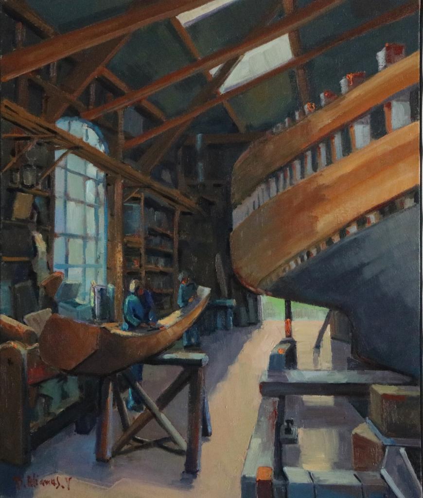 Le travail du charpentier de marine.  55X46-10F. Béatrice ALIAMUS .