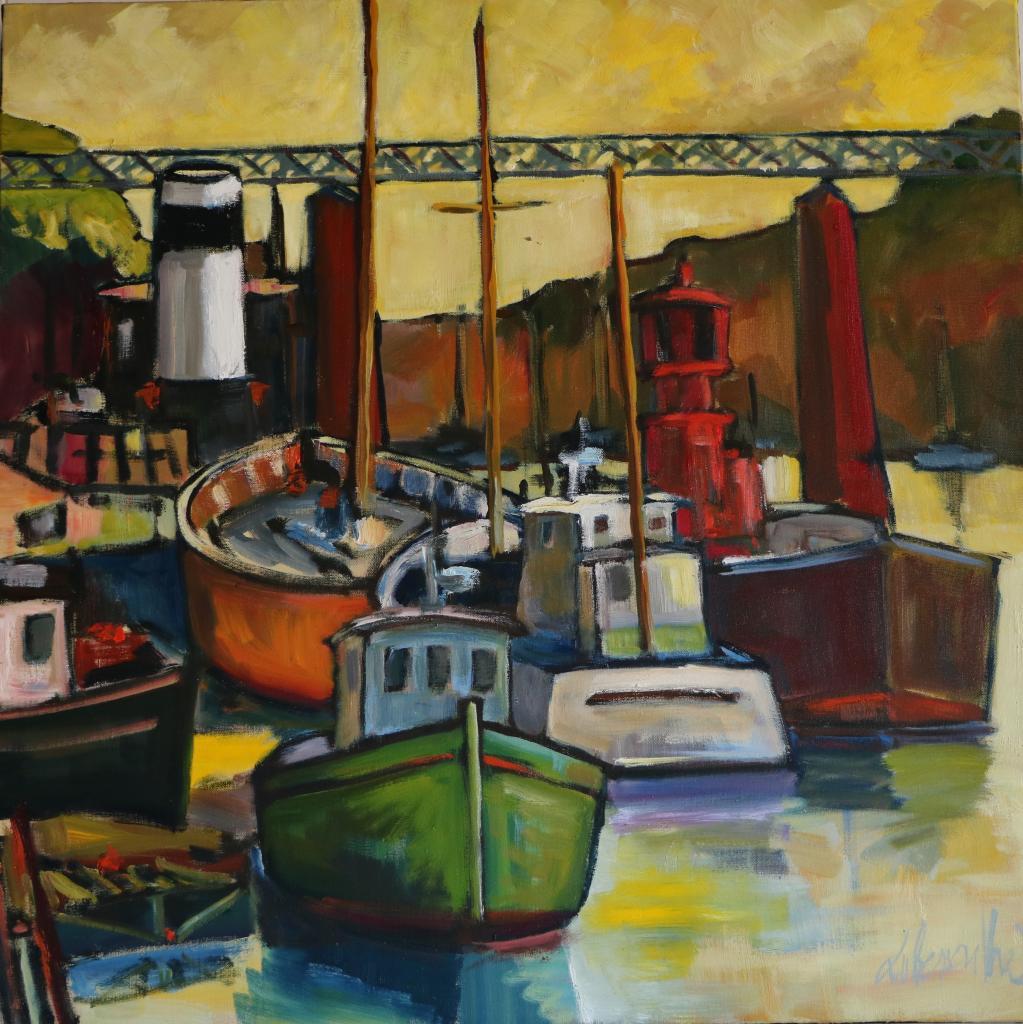 Bateau-Phare au Port-Rhu. 80X80.  Dominique LABESSOULHE
