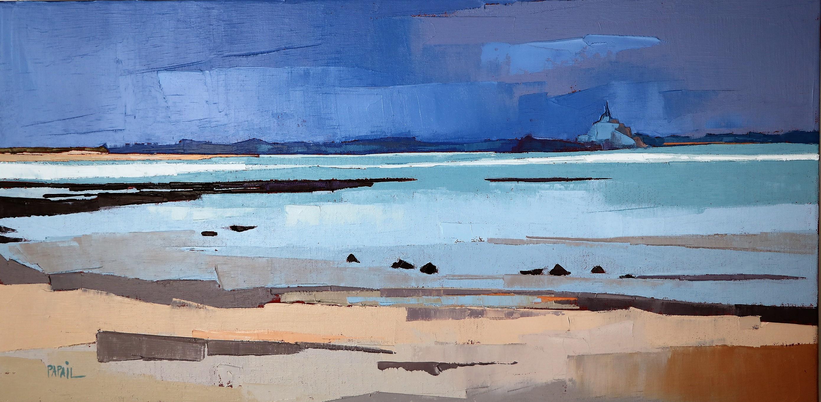 Ciel d'orage dans la baie. 40X80. Françoise Papail.