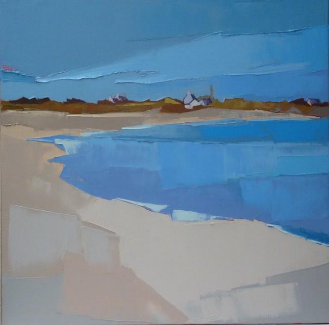 Fin d'été sur la plage. 50x50. Françoise PAPAIL.