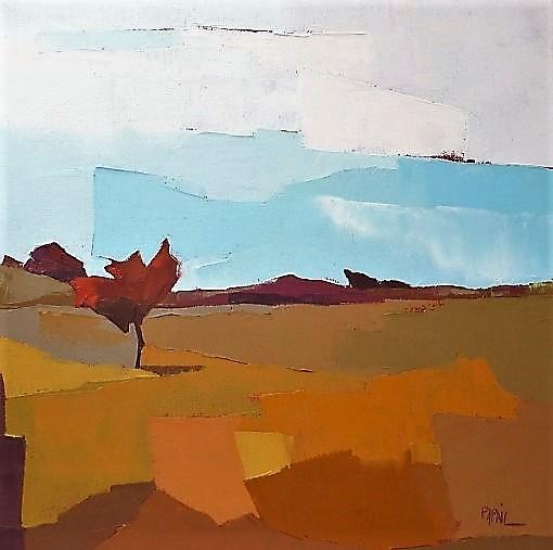 Le petit arbre dans la lande. 50X50. Françoise PAPAIL.
