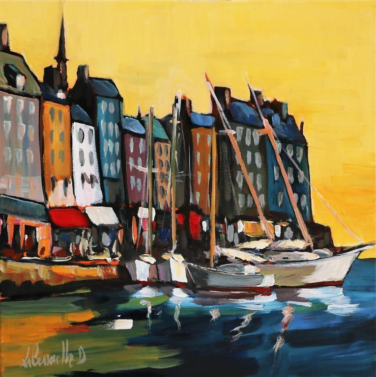 Honfleur, le port. 40X40. Dominique LABESSOULHE.