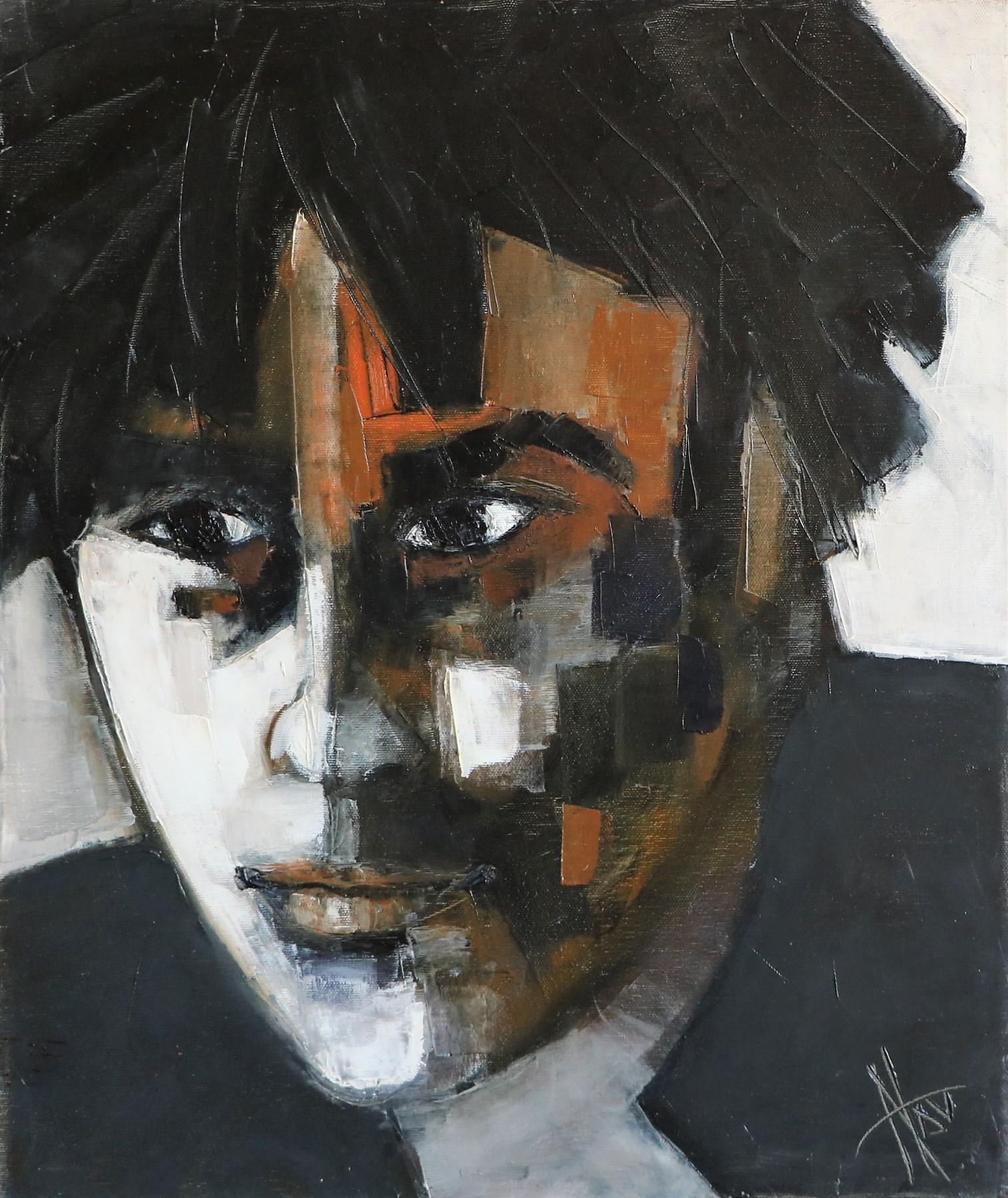 Jeune homme en noir et blanc. 55X46 -10F-. Nadine SALEM