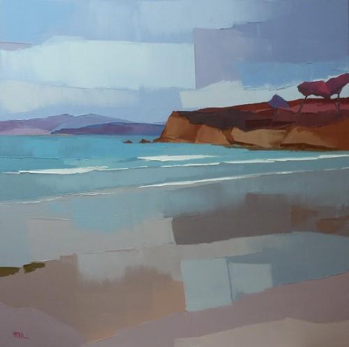 L' eau et la terre ; la plage du ris. 80x80. Françoise PAPAIL.