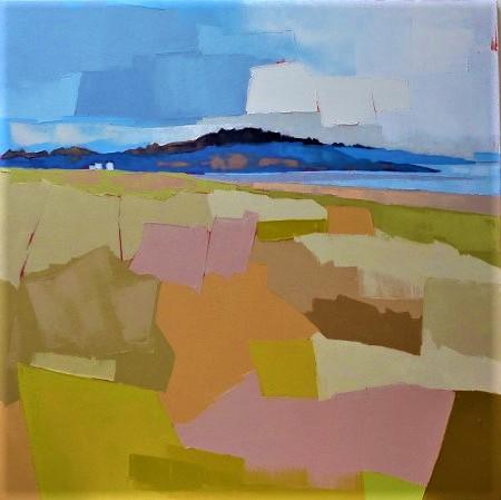 La colline bleue. 80x80. Françoise PAPAIL.