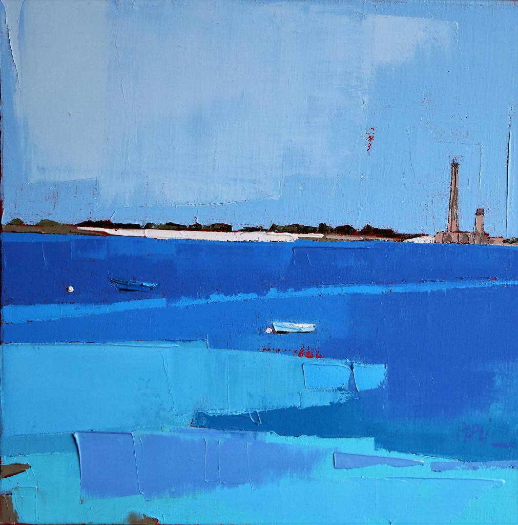 La mer bleue... 30X30. Françoise PAPAIL.