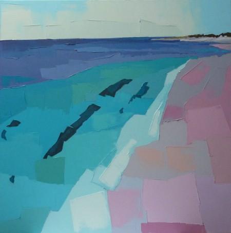 La plage rose ; hommage à Gauguin. 80x80. Françoise PAPAIL.
