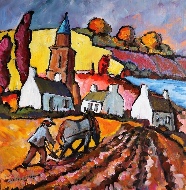 Labours à Saint Suliac. 50X50. Dominique LABESSOULHE.