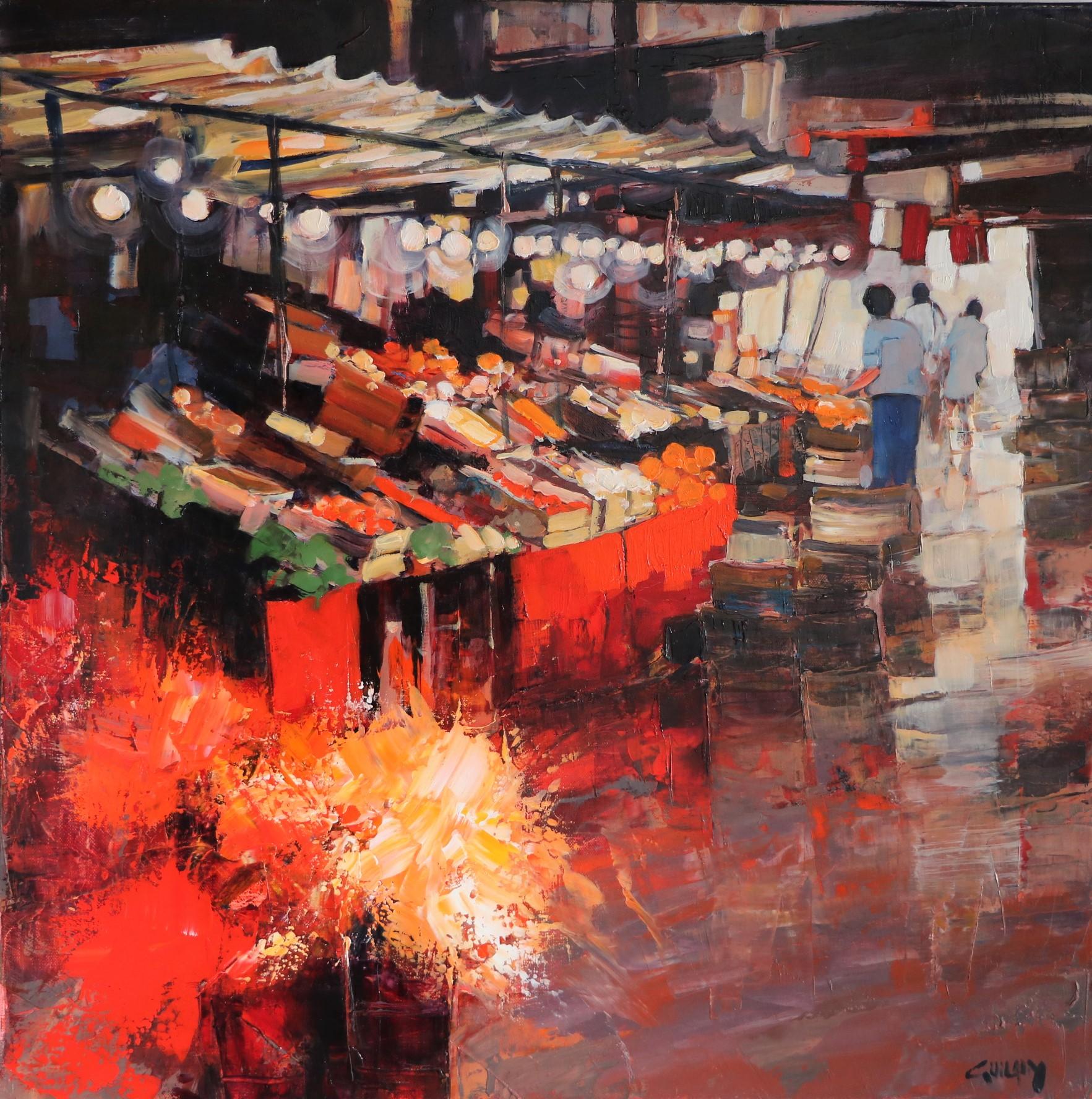 Le marché couvert. 60X60. Bernard GUILAIN.