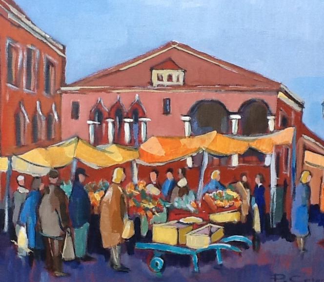 Le marché du Rialto. (65X54) . Pierre CARON.