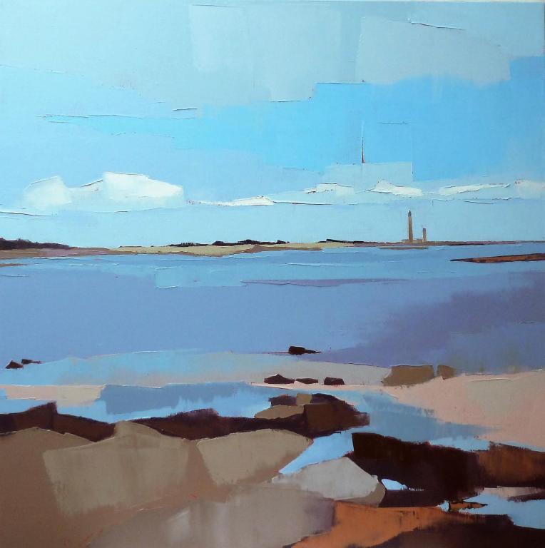 Le phare du bout de la côte. 80x80. Françoise PAPAIL.