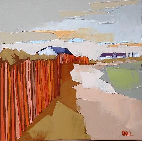 Le sentier derrière la dune 30x30. Françoise PAPAIL.