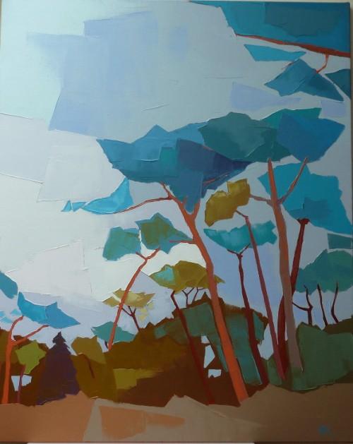 Les arbres bleus. 100x80  Françoise PAPAIL.