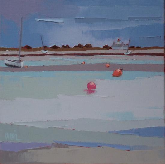 Les bouées roses. 30X30. Françoise PAPAIL.