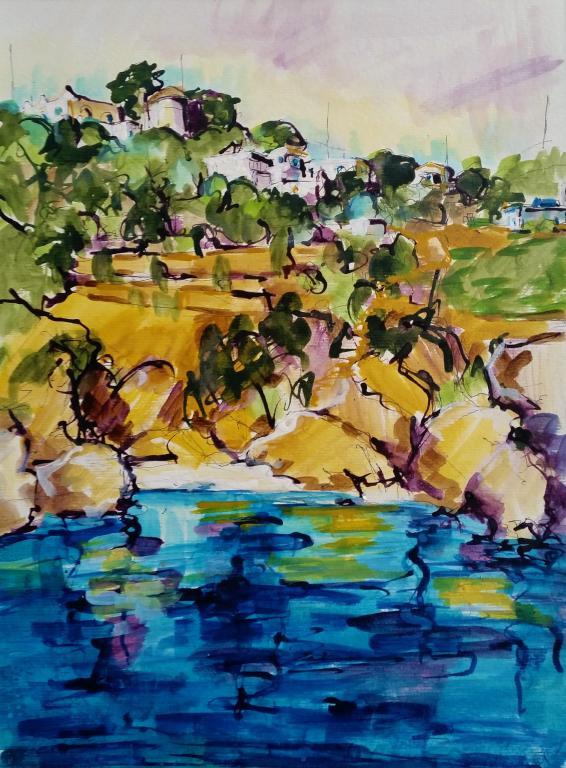 Les Fournois, près de Chios. Gouache 40,5 x 29,5. Béatrice ALIAMUS.