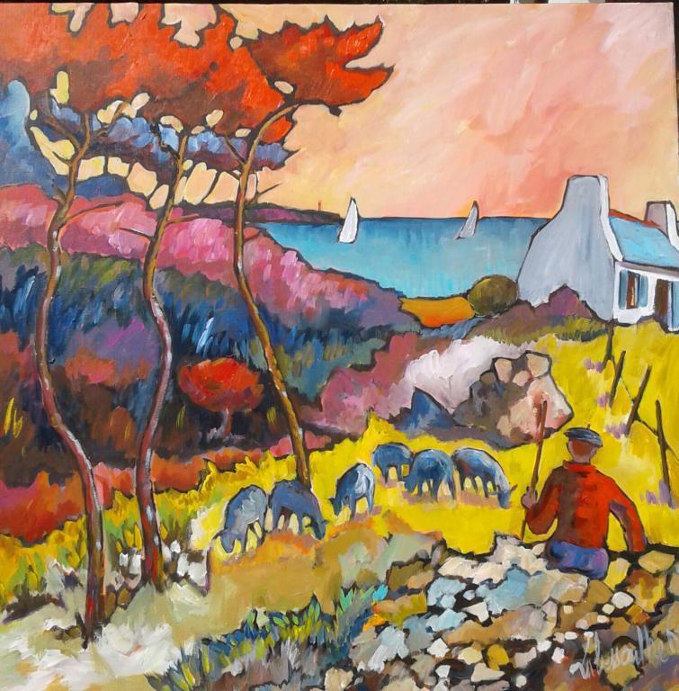 Les moutons bleus. 100X100. Dominique LABESSOULHE.