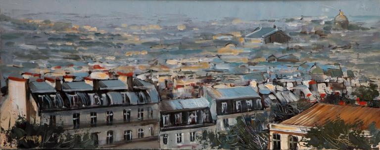 Les toits de Paris. 50X20. Bernard GUILAIN.