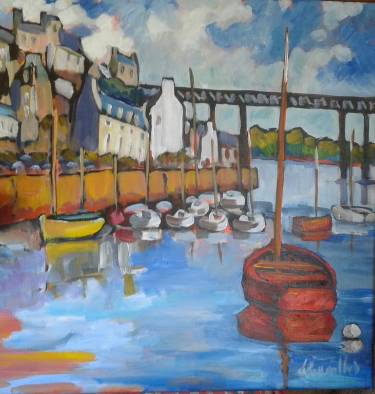 Mouillage Port Rhu. 50X50. Dominique LABESSOULHE.