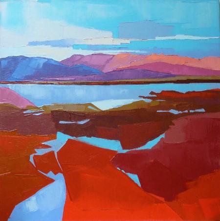 Pays de montagnes et d'eau. 60x60. Françoise PAPAIL.