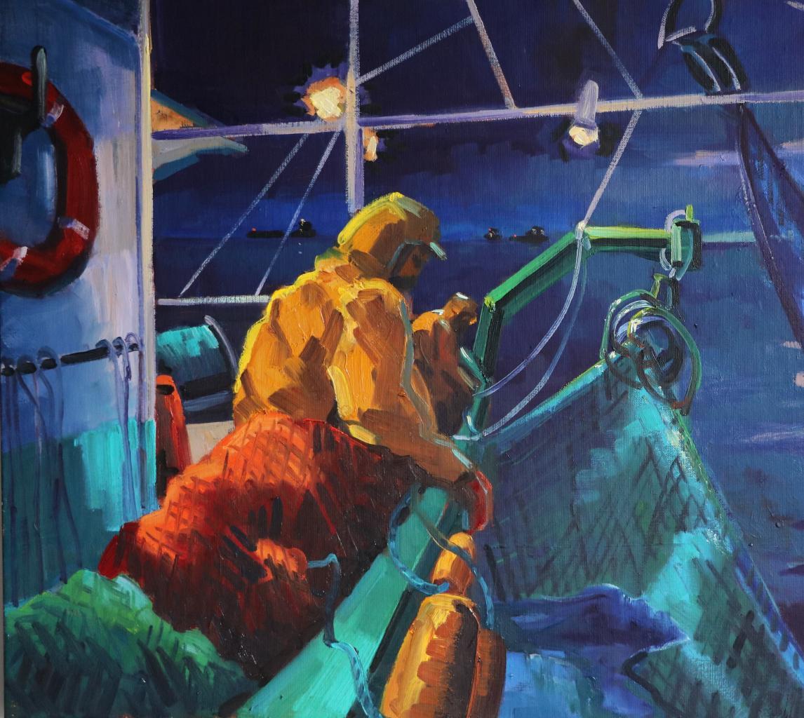 Pêche de nuit. 20M -73X50-. Béatrice ALIAMUS.