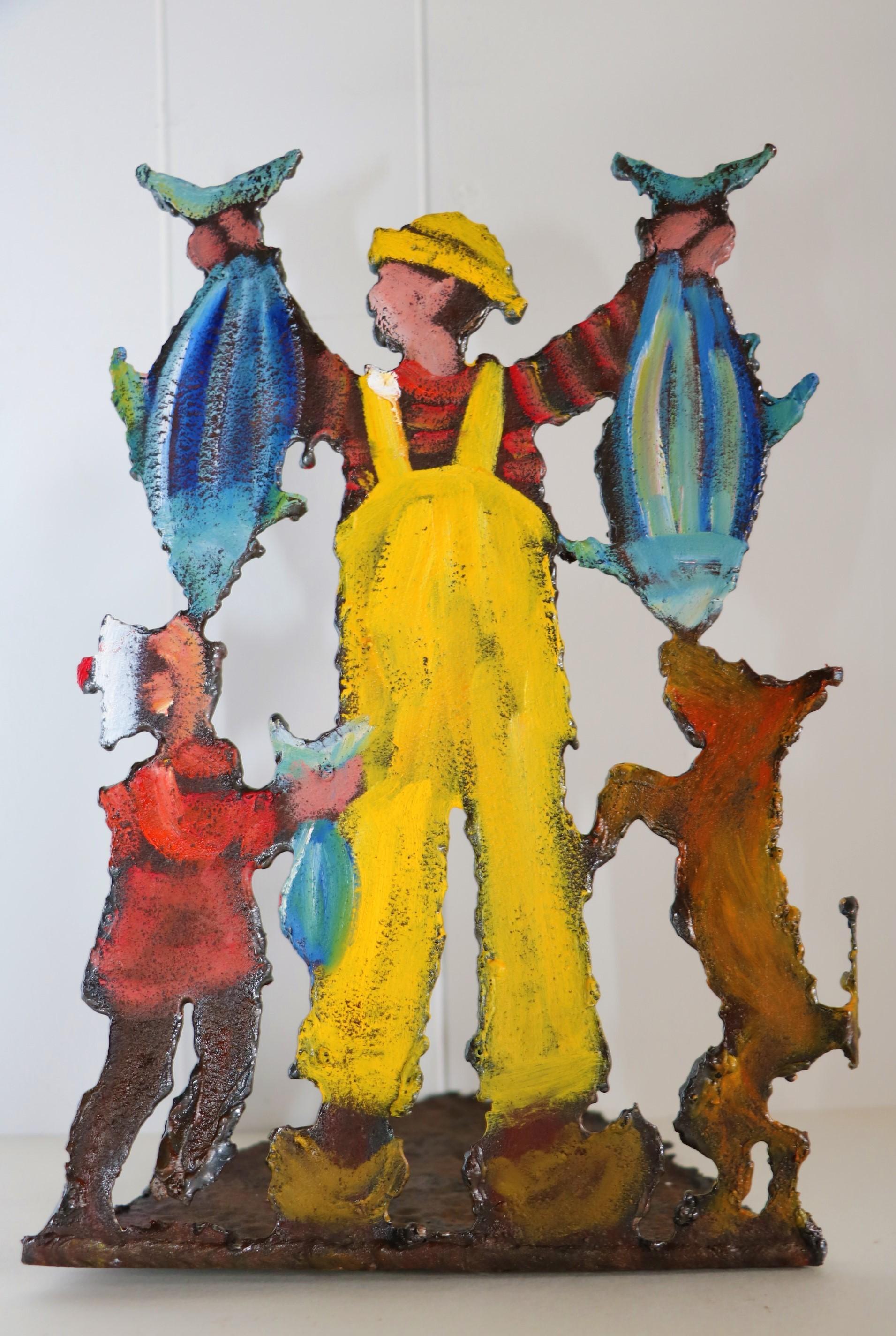 Pêcheur 2 thons. Sculpture sur tôle. Dominique LABESSOULHE.