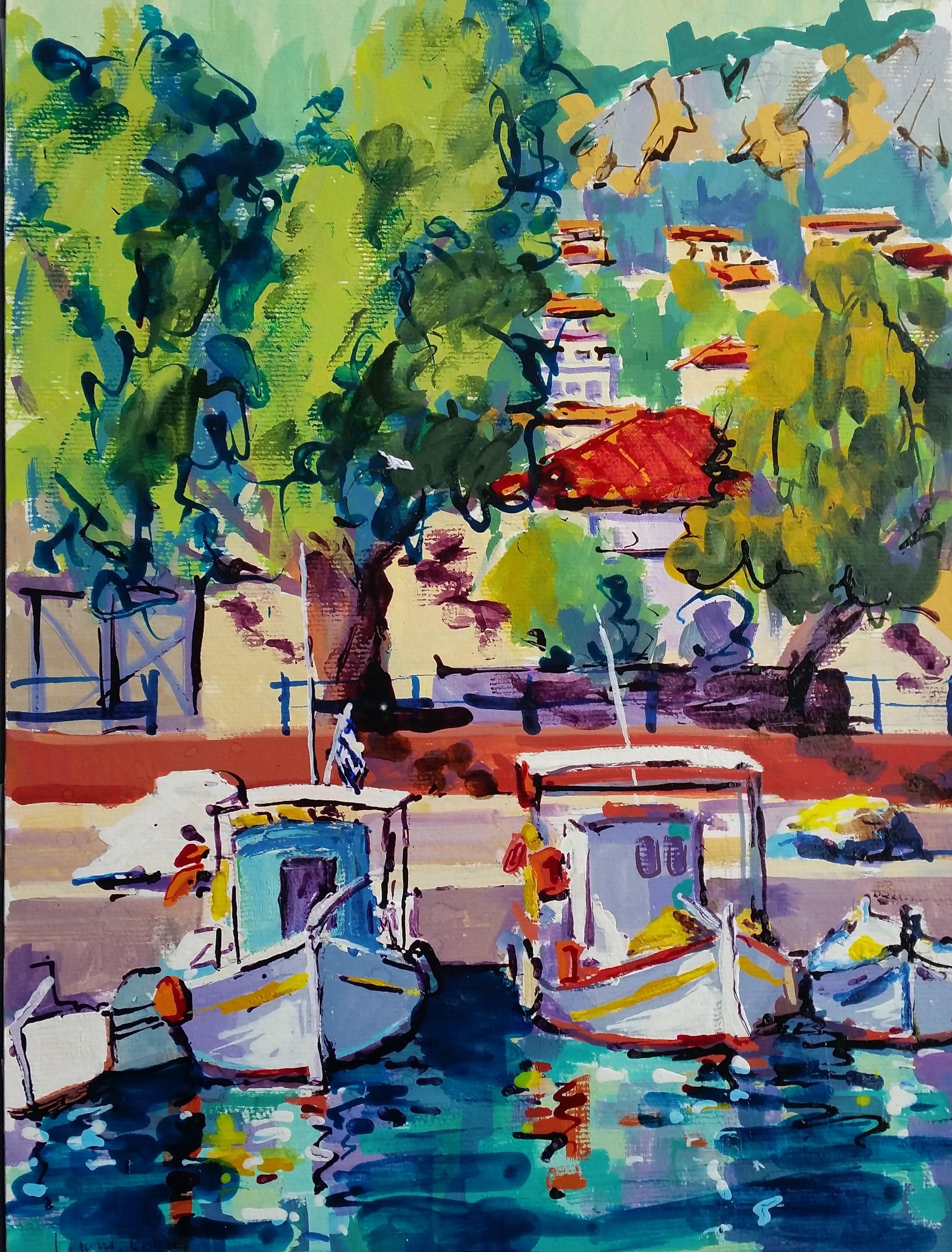 Petit port de Limni, île d'Eubée. Gouache 40,5 x 29;5. Béatrice ALIAMUS.