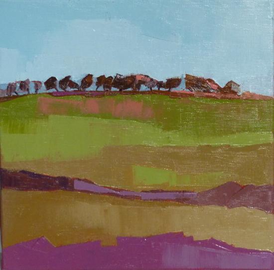 Petits arbres en haut du pré - 30X30 - Françoise Papail.