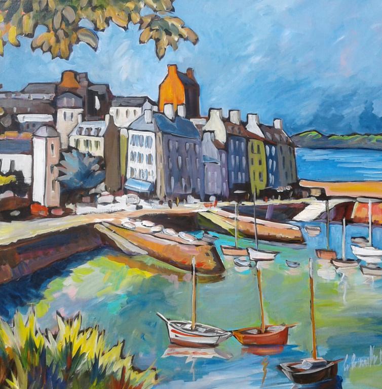 Port du Rosmeur. 80X80. Dominique LABESSOULHE.