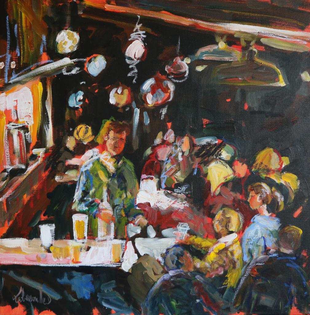 Pub Irlandais. 50X50.  Dominique LABESSOULHE